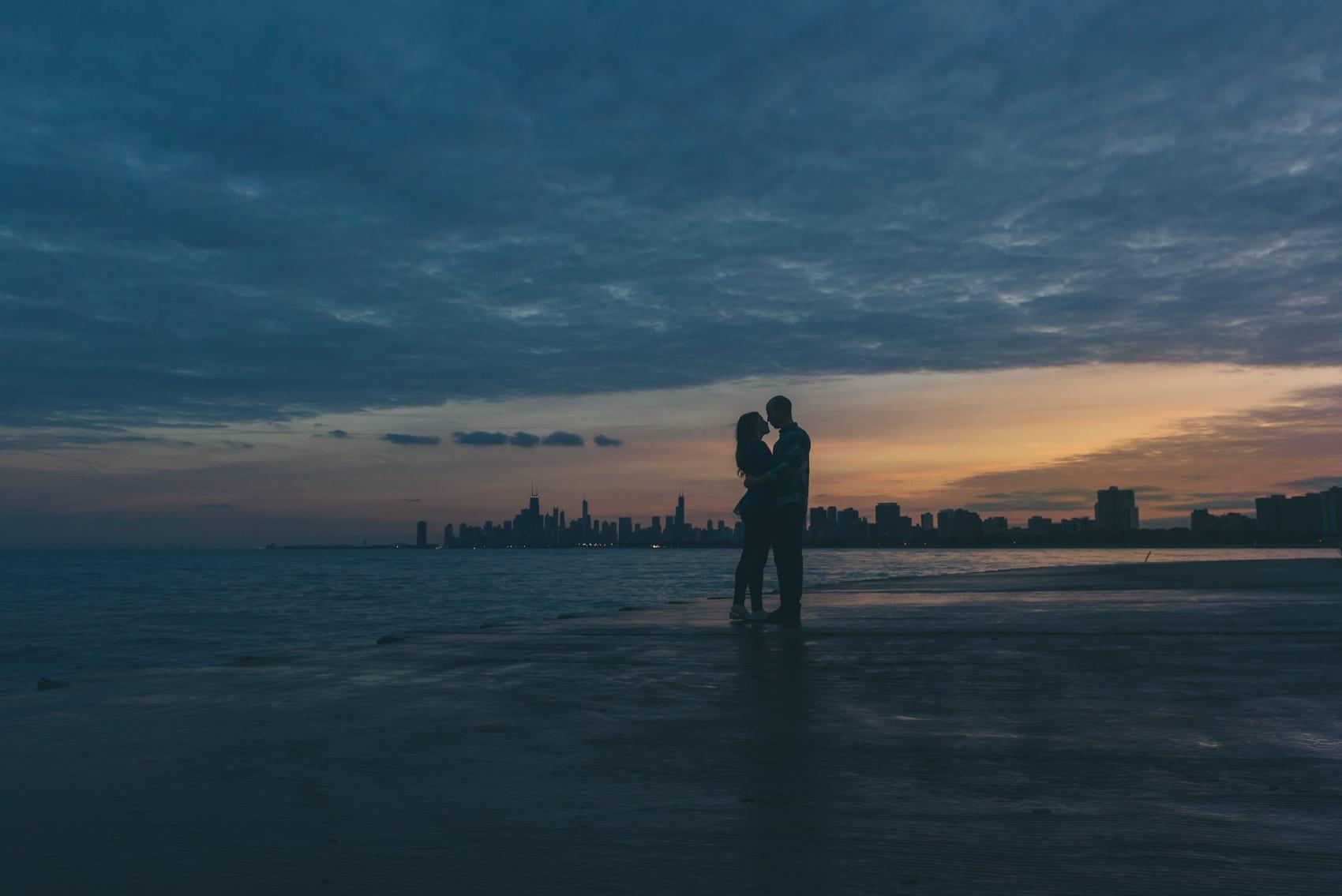 Thara Photo Chicago Engagement Photographer Montrose Harbor Uptown Fall Sunset